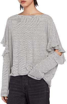 AllSaints Favro Striped Cutout Top