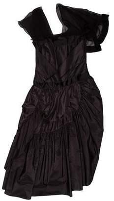 Balenciaga Silk Ruffle-Accented Dress w/ Tags