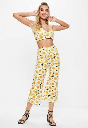 Missguided Yellow Sunflower Print Kickflare Pants