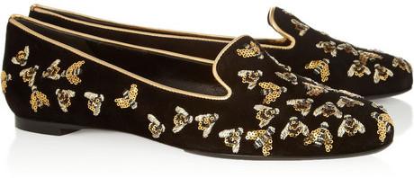 Alexander McQueen Embellished suede slippers