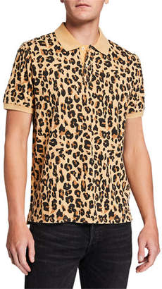 Ovadia & Sons Men's Leopard-Pattern Pique Polo Shirt