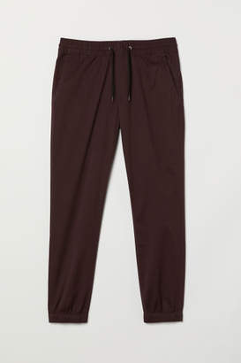 H&M Brushed Cotton Twill Joggers - Red