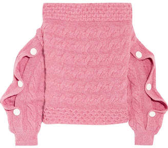 Hellessy Dorian Off-the-shoulder Cable-knit Wool Sweater - Pink