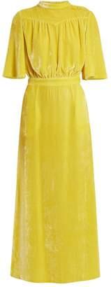 Attico - Gathered Velvet Midi Dress - Womens - Yellow