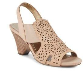 Anne Klein Grand Perforated Leather Slingback Sandals