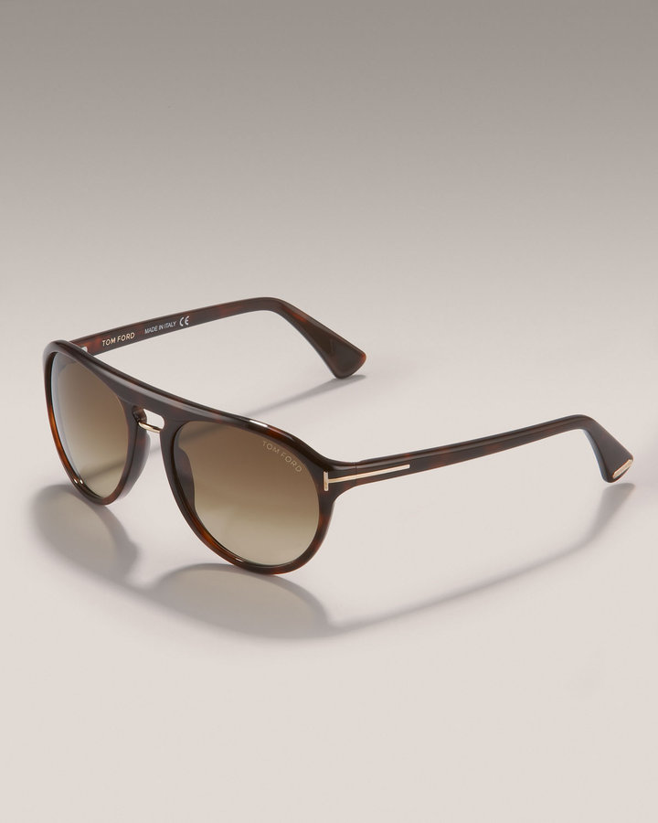 Tom Ford Eyewear Carlo Sunglasses, Shiny Dark Havana