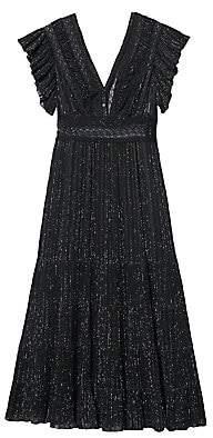 Sandro Women's Metallic Flutter-Sleeve Tiered Dress
