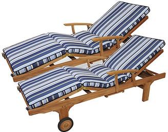Regal Teak Set of 2 Cleo Teak Chaises - Blue Sunbrella