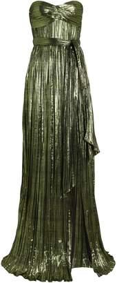 Jonathan Simkhai Metallic Plisse Strapless Gown