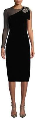 Sachin + Babi Bali One-Shoulder Velvet Dress w/ Brooch