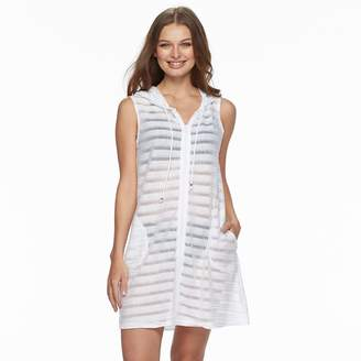 Apt. 9 Women's Shadow Stripe Hooded Swim Cover-Up