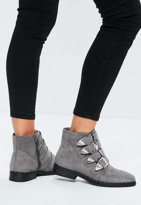 Missguided Gray Buckle Western Ankle Boots