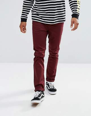Asos Design Slim Chinos In Dark Burgundy
