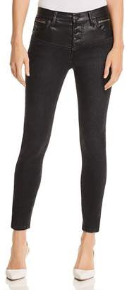 Current/Elliott The Fused High-Rise Stiletto Jeans in Rocco With Leather Piecing