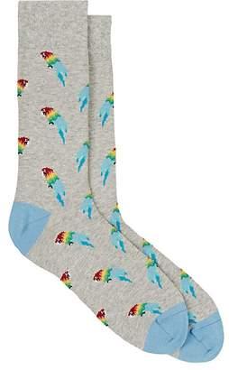 Corgi Men's Parrot-Motif Cotton-Blend Mid-Calf Socks