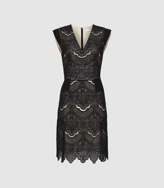 Reiss Gemina - Lace Fit And Flare Dress in Black