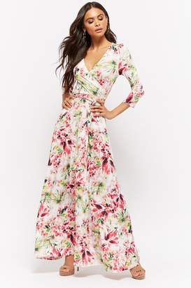 Forever 21 Floral Print Surplice Maxi Dress