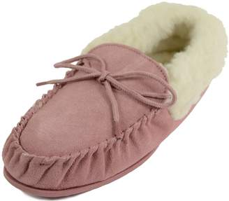 BEIGE Snugrugs Womens Wool Lined Moccasin Slippers with Rubber Sole & Wool Cuff. Size US 8