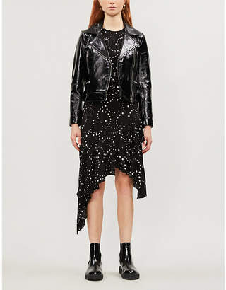 Claudie Pierlot Carly cropped patent-leather biker jacket