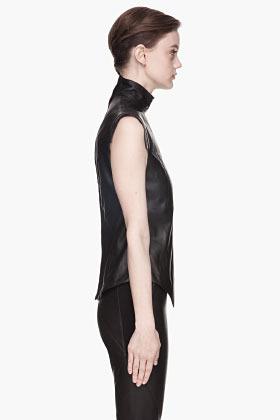 Gareth Pugh Black buffed leather blouse