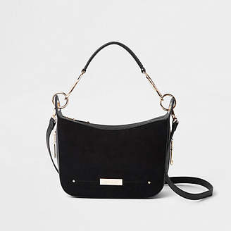 River Island Black zip detail scoop cross body bag