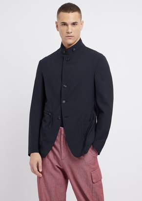 Emporio Armani Single-Breasted Blazer In Cordura-Effect Wool With Patch Pockets