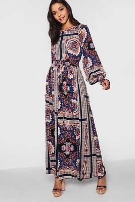 boohoo NEW Womens Shirred Waist Scarf Print Maxi Dress in Polyester