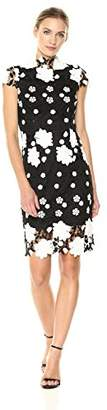 Nicole Miller New York Women's Fitted lace Dress Scallop Edge Mock Neckline