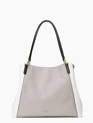 Kate Spade Jackson Large Triple Compartment Shoulder Bag, Soft Taupe/Optic White/Black