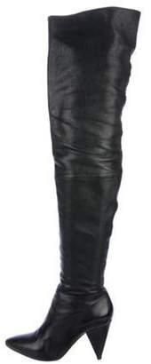 Loeffler Randall Leather Pointed-Toe Over-The-Knee Boots Black Leather Pointed-Toe Over-The-Knee Boots