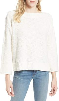 Caslon Button Shoulder Boat Neck Sweater
