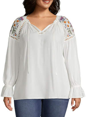 A.N.A Long Sleeve V Neck Embroidered Shoulder Woven Blouse - Plus