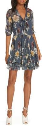 Nicholas Floral Ruffle Silk Dress