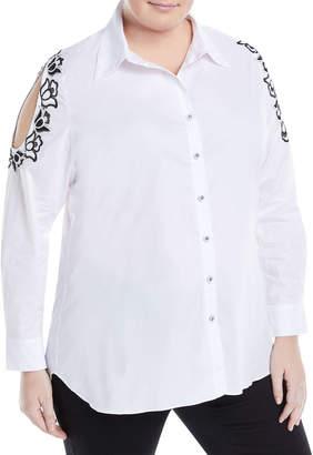 Neiman Marcus Plus Embroidered Cold-Shoulder Blouse, Plus Size