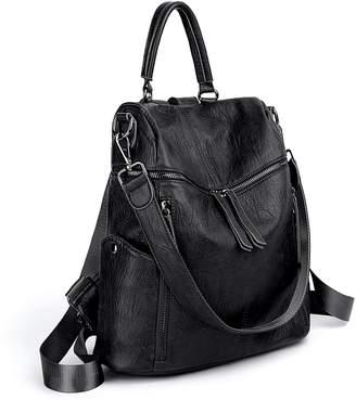 21c9631ba382 UTO Women Backpack Purse PU Washed Leather 3 Ways Ladies Rucksack Zipper  Shoulder Bag CA