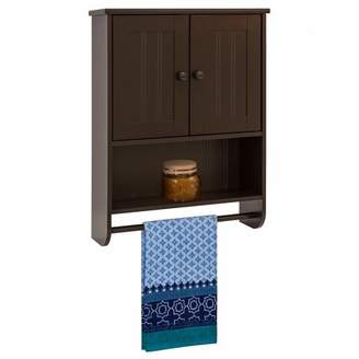 URBAN RESEARCH Best Choice Products Modern Contemporary Wood Bathroom Storage Organization Wall Cabinet w/ Open Cubby, Adjustable Shelf, Double Doors, Towel Bar, Wainscot Paneling - Espresso Brown