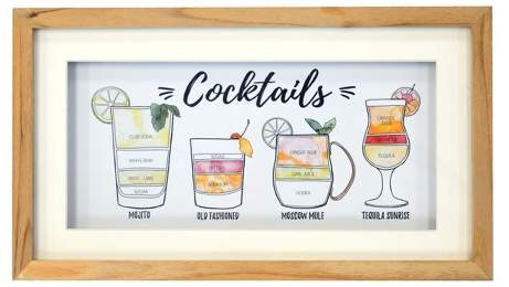 Cocktails Framed Art 8 x 14