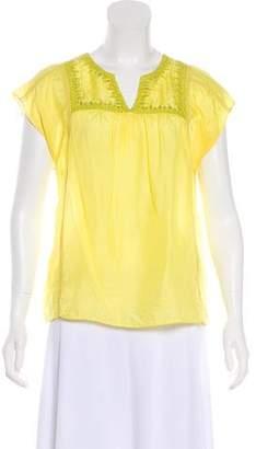 Calypso Silk Embroidered Short Sleeve Top