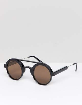 Spitfire Round Sunglasses In Black With Brown Lens
