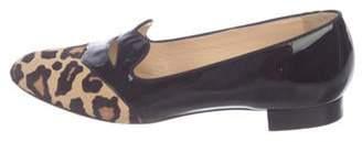 Charlotte Olympia Patent Leather Animal Print Loafers Black Patent Leather Animal Print Loafers