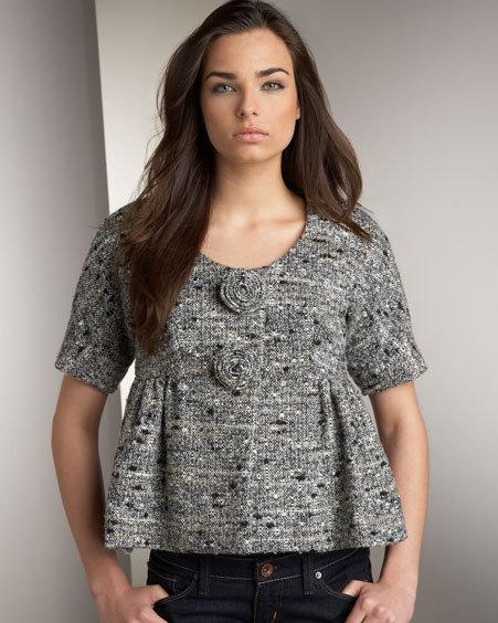 Anna Sui Cropped Tweed Jacket