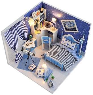 Mini A Ture Luerme Dollhouse DIY Miniature House Model LED Furniture Kit for Home Decoration Artwork Gift