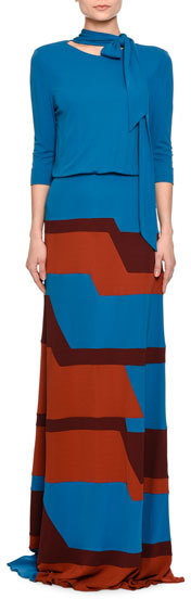 Bottega Veneta Bottega Veneta Long-Sleeve Colorblock Jersey Gown, Multi