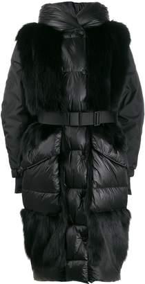 Moncler fur panels oversized padded coat