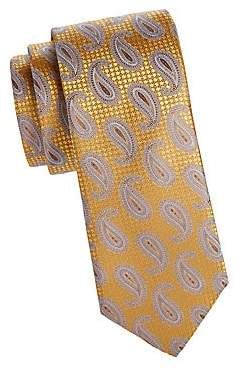 Canali Men's Layered Paisley Print SIlk Tie