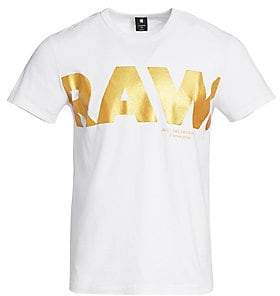 G Star Men's Metallic Raw Logo Graphic Tee