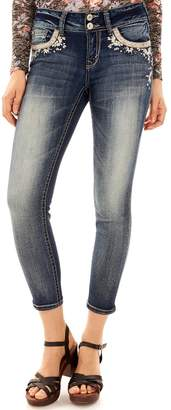 Juniors' Wallflower Luscious Bling Curvy Ankle Jeans