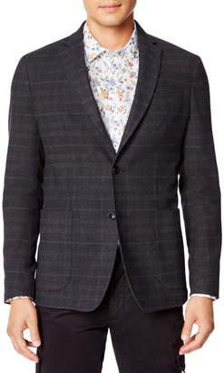 Good Man Brand Slim Fit Plaid Knit Wool Blend Sport Coat