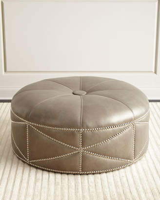 Hollander Massoud Round Leather Ottoman