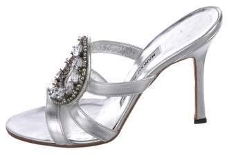 Manolo Blahnik Metallic Slide Sandals